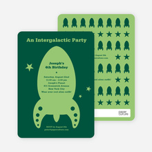 Intergalactic Modern Birthday Invitation - Forest Green