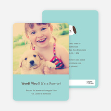 Kids Modern Birthday Invitations Featuring Skip the Dog - Blueberry Mist
