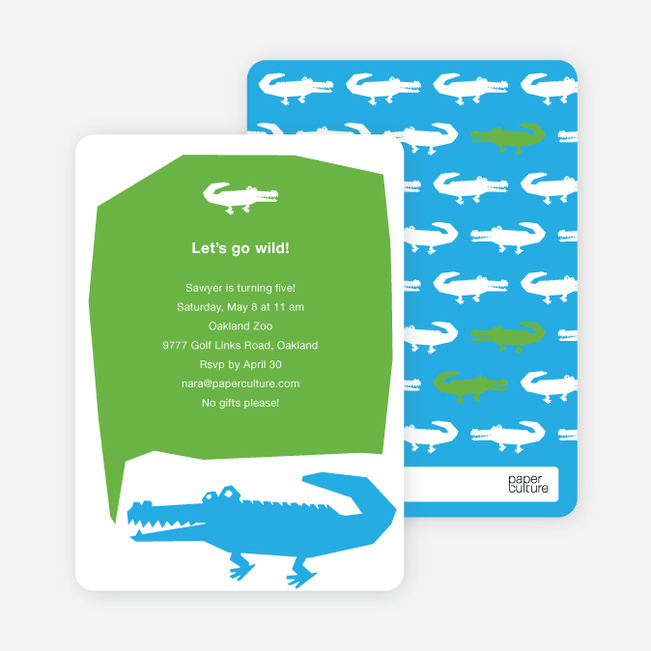 Later Alligator Modern Birthday Invitation - Cyan