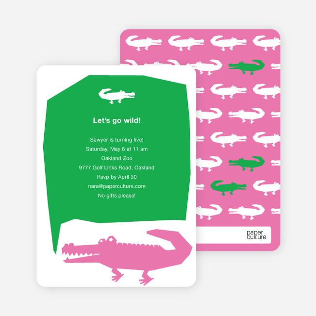 Later Alligator Modern Birthday Invitation - Pink