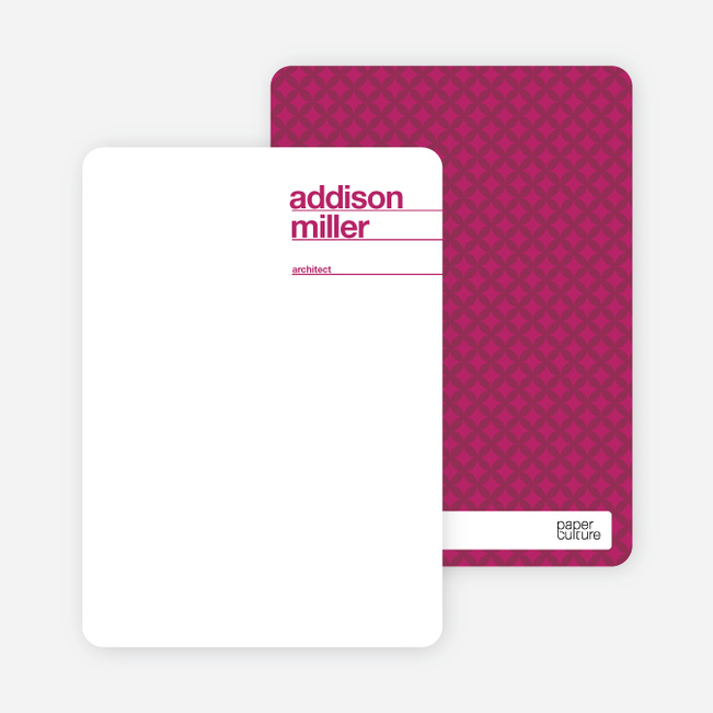 Linear Name Cards Personal Stationery - Magenta