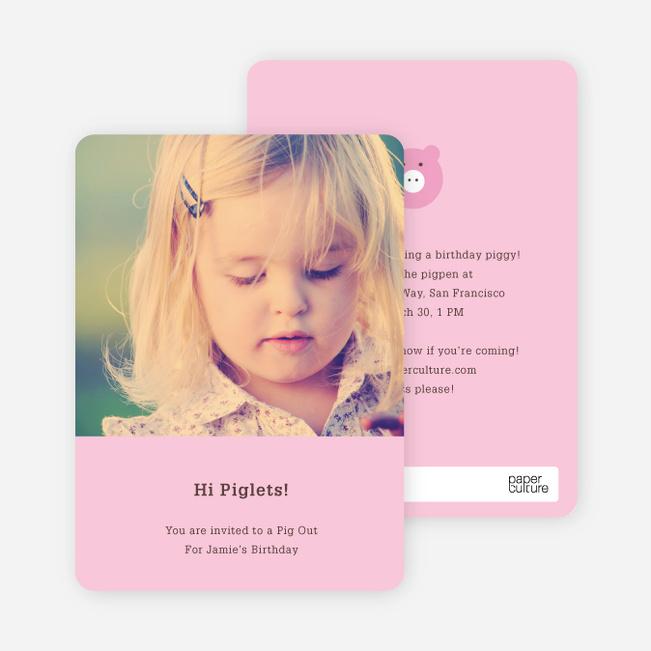 Little Piggy Modern Birthday Party Invitation - Piglet Pink