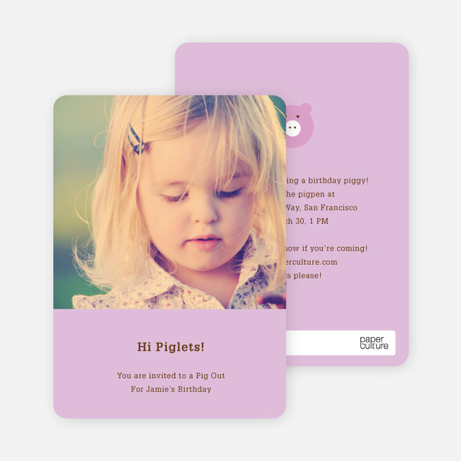 Little Piggy Modern Birthday Party Invitation - Lavender