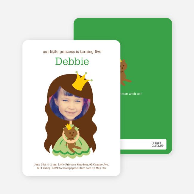 Little Princess Photo Card Birthday Invitations - Wheat Grass