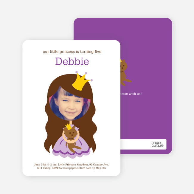 Little Princess Photo Card Birthday Invitations - Grape Coconut
