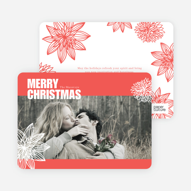 Merry Christmas Poinsettia Cards - Red