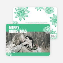 Merry Christmas Poinsettia Cards - Green