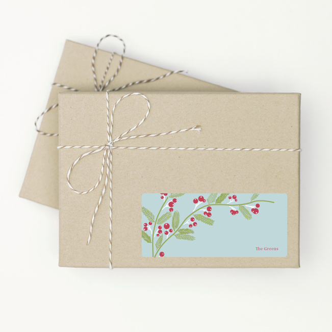 Mistletoe and Berry Tags - Blue