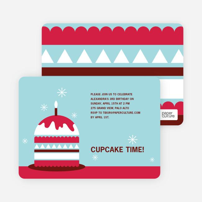 Modern Birthday Cake Invitation - Cherry