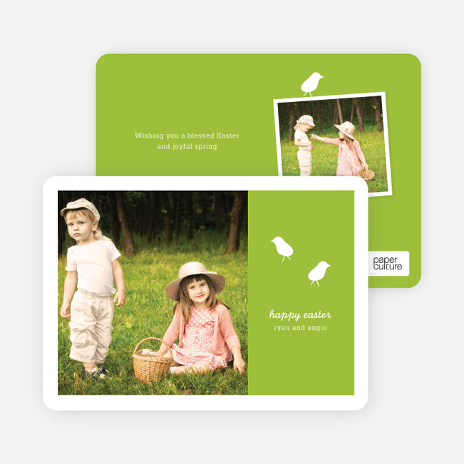 Modern Easter Photo Card: Chirp Chirp - Floral Green