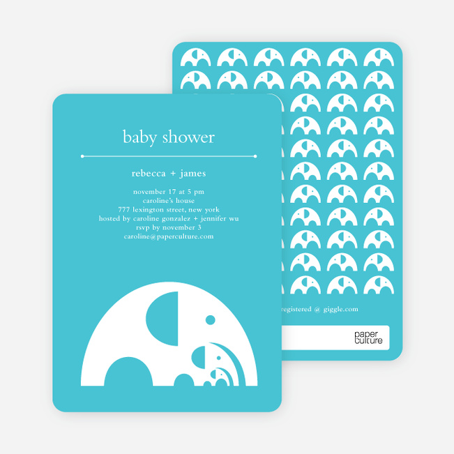 Modern Elephant Family Baby Announcement - Bright Blue
