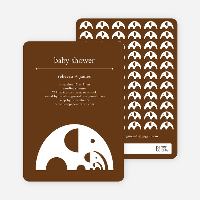 Modern Elephant Family Baby Announcement - Coffee