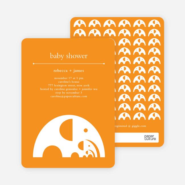 Modern Elephant Family Baby Announcement - Bright Orange