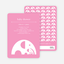 Modern Elephant Family Baby Announcement - Bright Pink