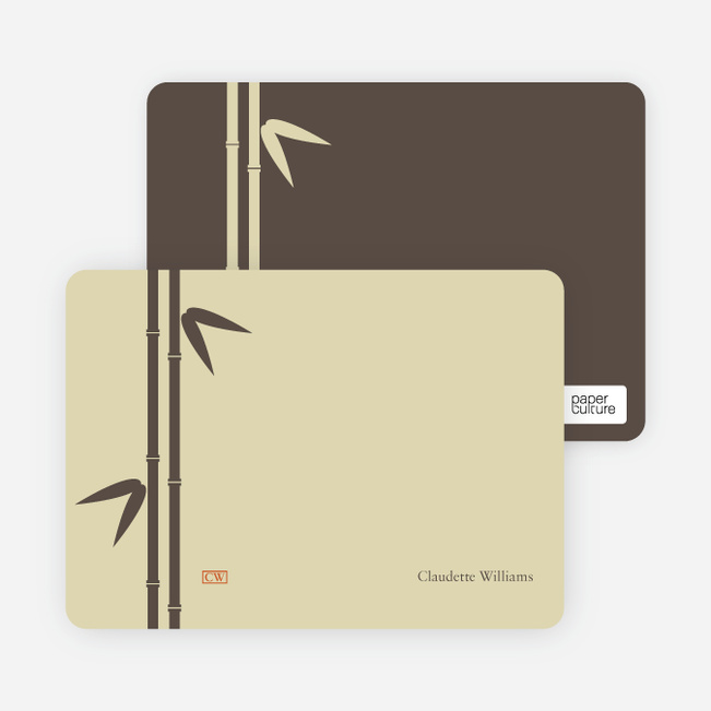 Note Cards: 'Bamboo Zen Bridal Shower' cards. - Charcoal