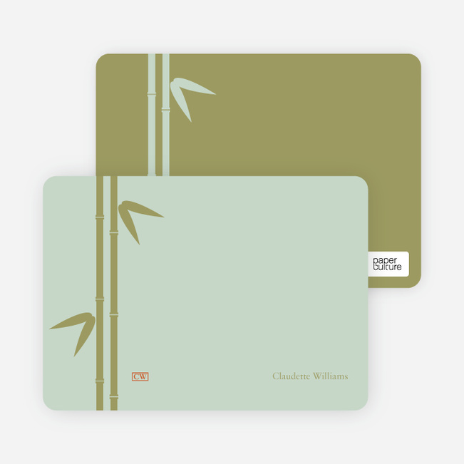Note Cards: 'Bamboo Zen Bridal Shower' cards. - Mint Green