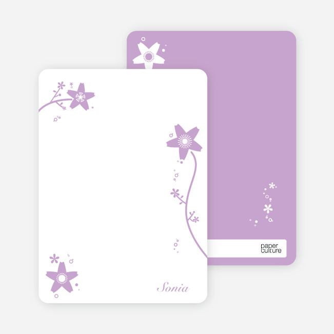 Note Cards: 'Floral Bridal Shower' cards. - Lavender