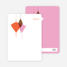 Lantern Lights Bridal Shower Note Cards - Carrot Orange