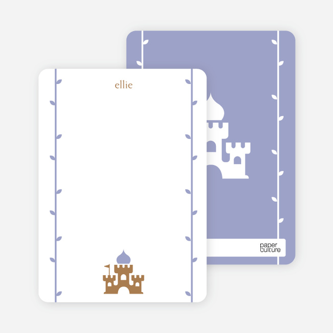 Note Cards: 'Princess Birthday Invitation' cards. - Beige Brown