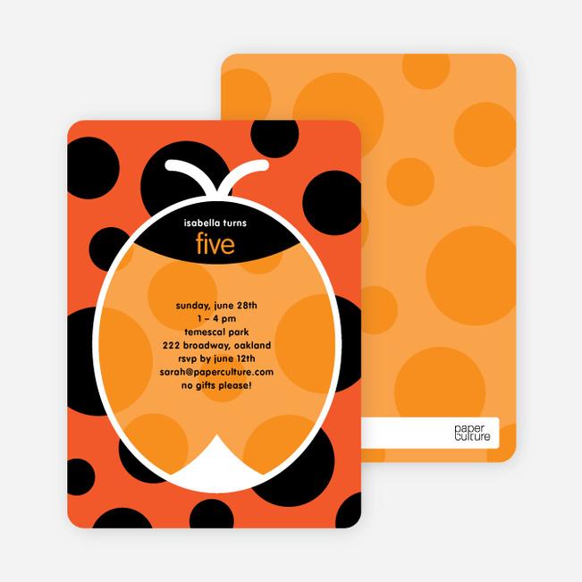 Orange Ladybug Modern Birthday Invitation - Blood Orange
