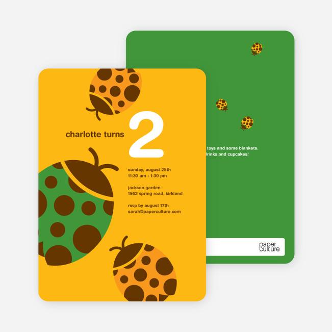 Orange Ladybug Modern Birthday Invitation - Peach