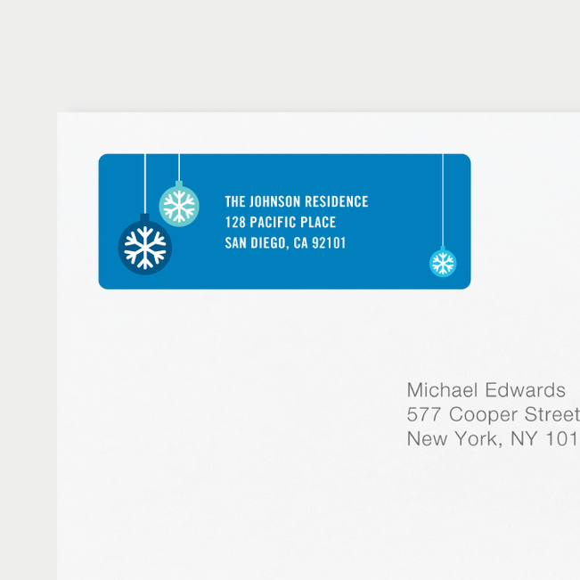 Ornaments Matching Address Labels - Blue