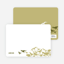 Dinosaur Birthday: Personal Stationery - Olive