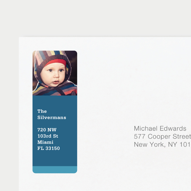 Photo Return Address Labels - Blue