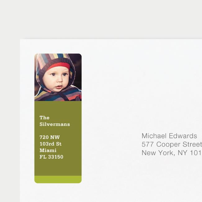 Photo Return Address Labels - Green