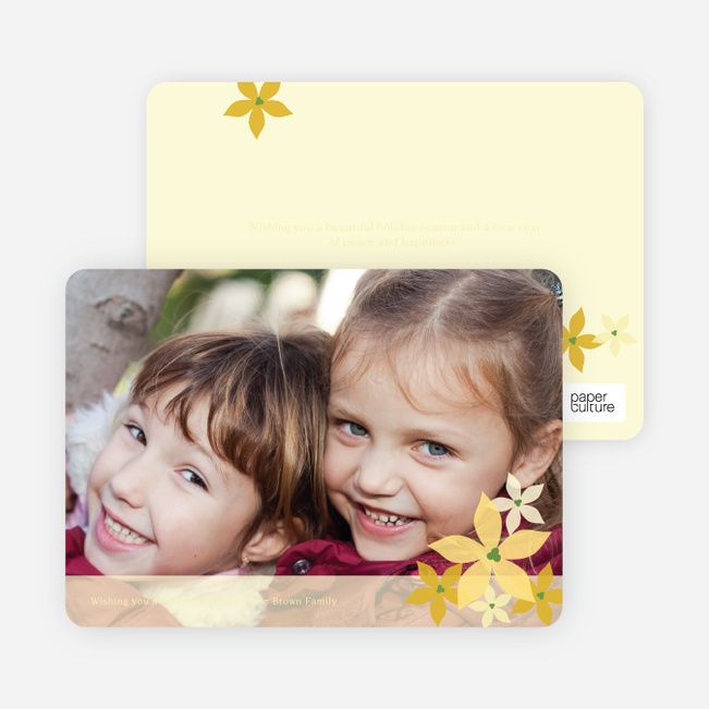 Poignant Poinsettia Holiday Photo Card - Daffodil