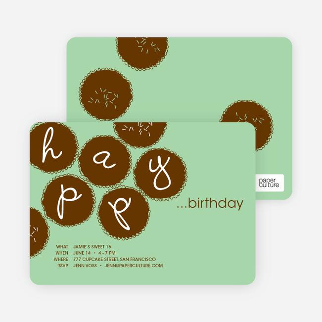 Premium Cupcakes Galore Birthday Invitations - Mint Green