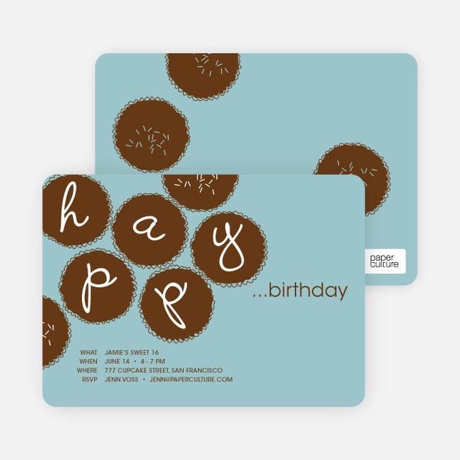 Premium Cupcakes Galore Birthday Invitations - Light Cyan