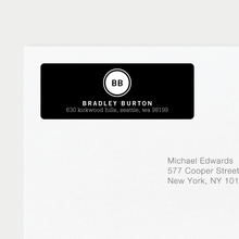 Professional Monogram Address Labels - Black
