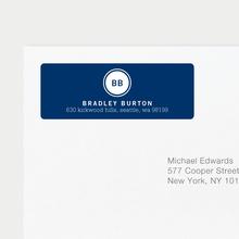 Professional Monogram Address Labels - Blue