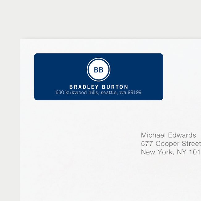 Professional Monogram Address Labels - Blue
