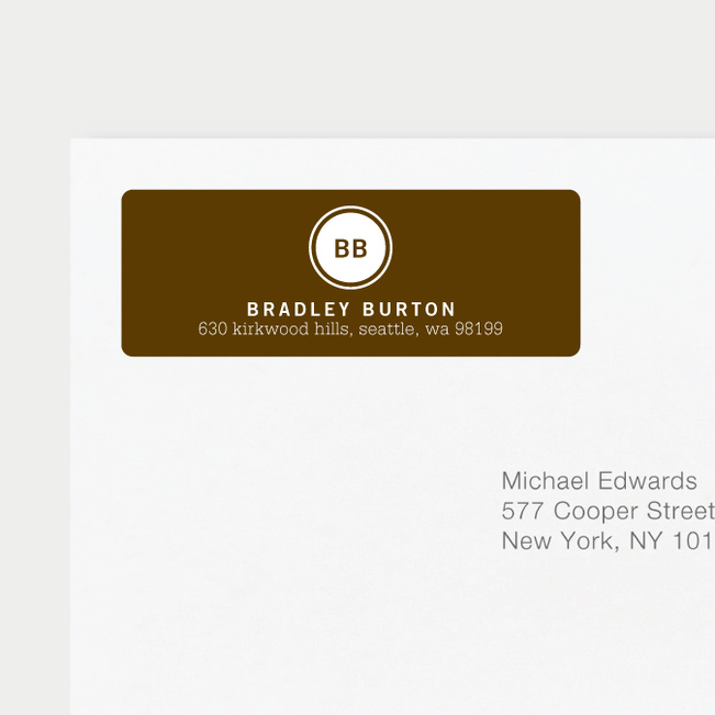 Professional Monogram Address Labels - Brown