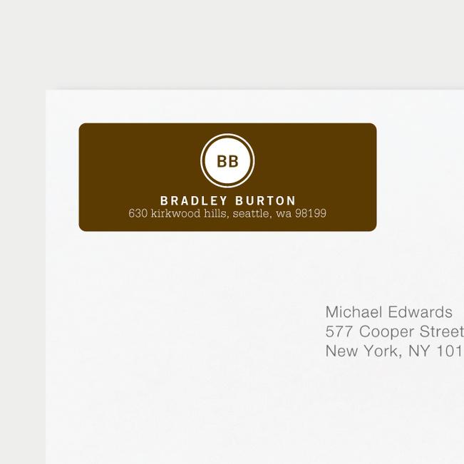 Professional Monogram Address Labels - Brown