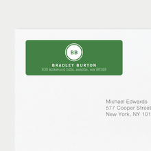 Professional Monogram Address Labels - Green