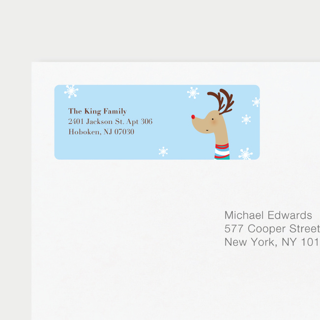 Reindeer Personalized Address Labels - Blue