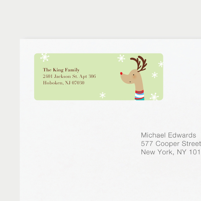 Reindeer Personalized Address Labels - Green