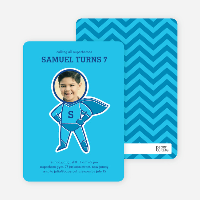 Righteous Hero Birthday Invitations - Electric Blue