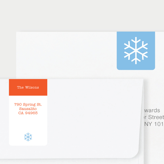 Snowflake Square Return Address Stickers - Blue