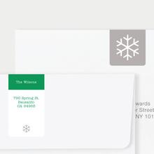 Snowflake Square Address Labels - Green