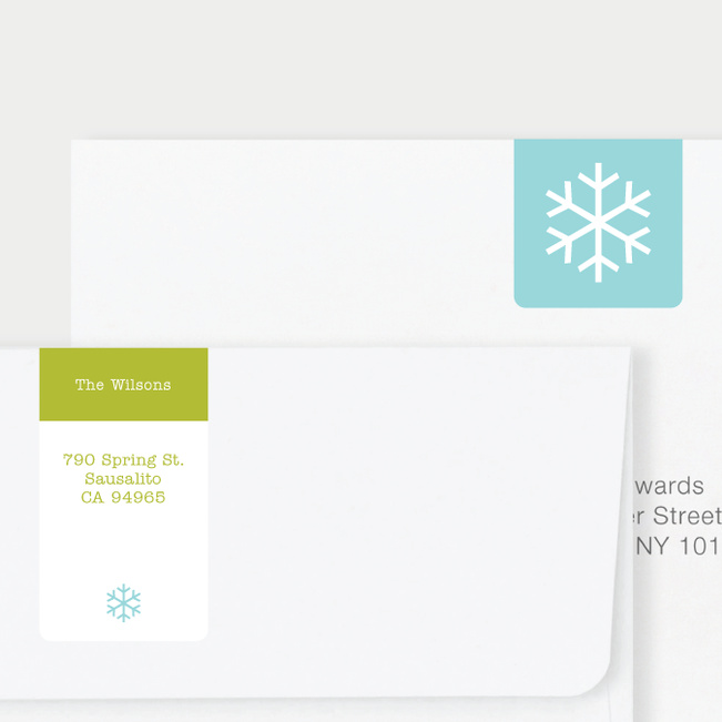 Snowflake Square Return Address Stickers - Green