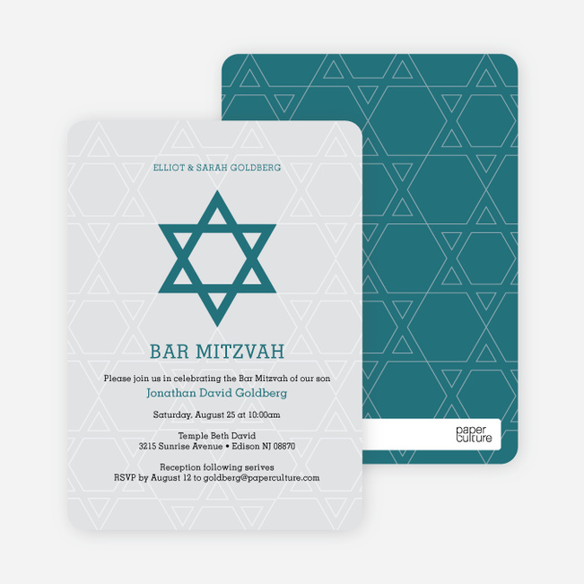 Star of David Bar and Bat Mitzvah Invitations - Green