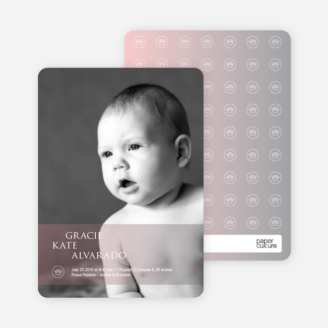 Photo Birth Announcements: Studio Series - Reddish Pink