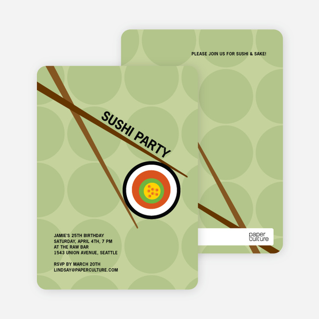 Sushi Themed Party Invitations - Bamboo