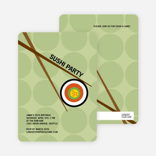 Sushi Themed Party Invitations - Bamboo