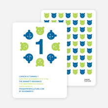 Teddy Bear Kaleidoscope Birthday Invite - Peacock Blue