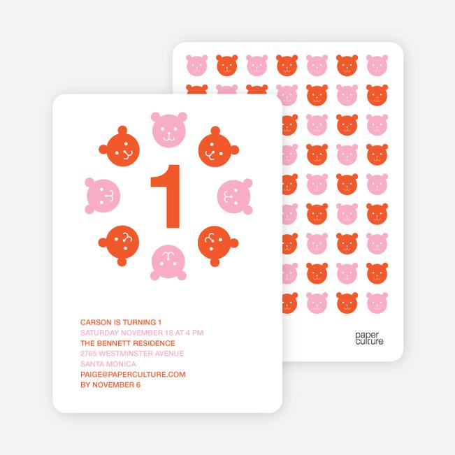 Teddy Bear Kaleidoscope Birthday Invite - Red Orange